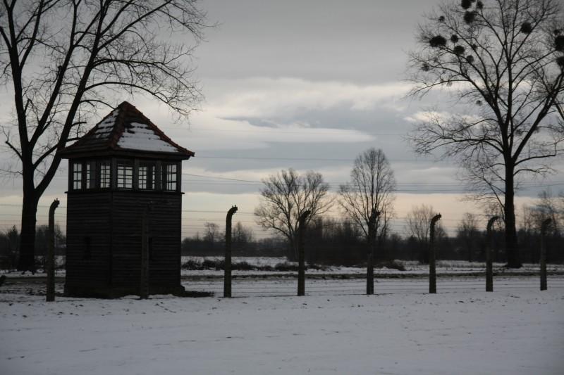 Wachturm und Zäune in Auschwitz-Birkenau.